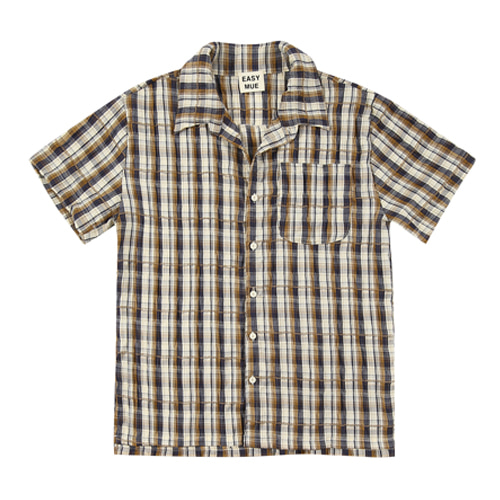 CHECK SHORT-SLEEVE SHIRT (BROWN)
